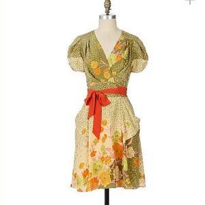 Anthropologie Baraschi wrap dress size L